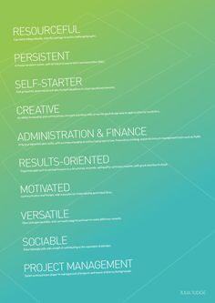 great list -perfect words to put on a resume!