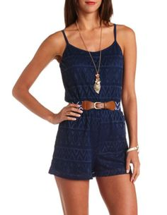 Belted Aztec Lace Romper: Charlotte Russe