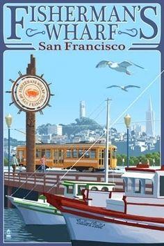 San Francisco, California - Fisherman's Wharf - Lantern Press Poster