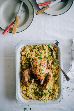 Roast chicken with orzo pasta.  Sometimes you just want comfort food.