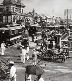 The principal thoroughfare of busy Tokyo, Japan ca. 1905 by H.C. White Co. Half from stereo card. S)