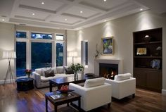 Contemporary Living Room with Dunham down-filled armchair - toss back, Box ceiling, West Elm: Henry Sofa, Hardwood floors
