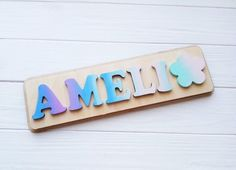 Jigsaw Puzzles For Kids, Wooden Puzzles, Fun Games For Kids, Diy For Kids, Baby Girl Gifts, Baby Boy, Personalized Puzzles, Wooden Name Signs, Name Puzzle