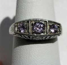 Genuine 1ct Amethyst 925 Solid Sterling Silver by GlowingEmpire, $85.00