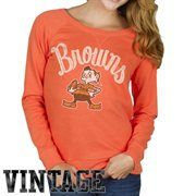 Junk Food Cleveland Browns Ladies Field Goal Fleece Sweatshirt - Orange