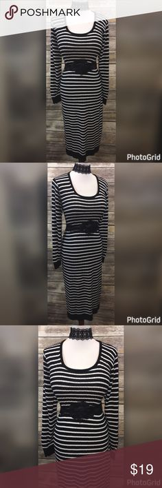 """4 PIECE SET! NEW STRIPED DRESS/BELT/JEWELRY SZ 2X THIS FUN AND PRETTY OUTFIT IS PERFECT FOR SPRING! LIGHT KNIT LONG SLEEVE DRESS AND UNIQUE ACCESSORIES! SO COOL TO WEAR!!!  NEW DANI'S CLOSET STRIPED DRESS SIZE 2X *MEASUREMENTS ACROSS* LENGTH-46"""" BUST-20""""-25"""" WAIST-19""""-24"""" HIPS-21""""-27""""  ACCESSORIES (3) INTRICATE BEADED ELASTIC FLOWER BELT LENGTH-35""""-58"""" FLOWER-5"""" BELT-2""""  LACE CHOKER WITH STRING TIES-2""""/49"""" LONG BLACK SPARKLE HEART EARRINGS-1"""" dani's closet Dresses Midi"""