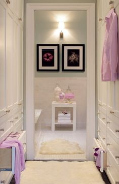 dressing area off bathroom - love these built ins!