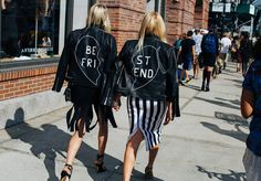 Best Friends.. #StreetStyle #Leather #Jacket #NYFW #SS16 #Outfit