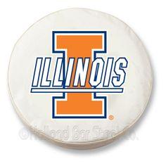Illinois Fighting Illini NCAA Exact Fit White Vinyl Spare Tire Cover