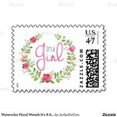 Watercolor Floral Wreath It's A Girl Postage Stamp @zazzle April 21 2x