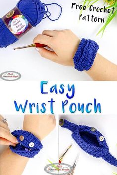 Great Simple Wrist Pouch - The proper fast storage resolution - Free crochet sample Legendary This free crochet mannequin . Crochet Pouch, Crochet Yarn, Easy Crochet, Free Crochet, Scrap Crochet, Crochet Storage, Yarn Storage, Purse Storage, Purse Organization
