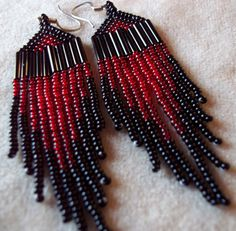 20% off sale - Red and Black Seed Bead Earrings.. $18.75, via Etsy.