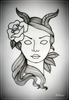 Devil Girl Tattoo Flash | Tattoobite.com