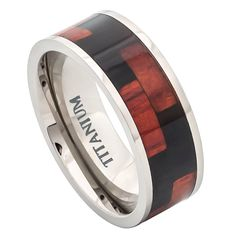 Titanium Wedding Band Ring, Mens Ring, Mens Band, Mens Jewelry, Wood Ring, Blackwood & Hawaiian Koa Rosewood Inlay Comfort-fit by TemptingJewels on Etsy https://www.etsy.com/listing/180674058/titanium-wedding-band-ring-mens-ring