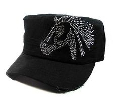 Bling Horse Riding Rhinestone Cadet Cap Hat