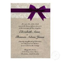 White Lace & Plum Purple Ribbon on Burlap Rustic Wedding Invitation