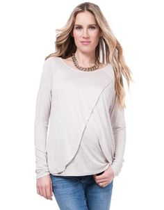 Seraphine Front Overlap Nursing Top - Oatmeal