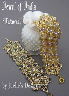 This is a tutorial for The Jewel Of India Bracelet. This is a bead weaving tutorial that will teach you how to stitch this beautiful bracelet. Some bead weaving experience is helpful but not necessary, if this is your first time beading then I would say that this is for the