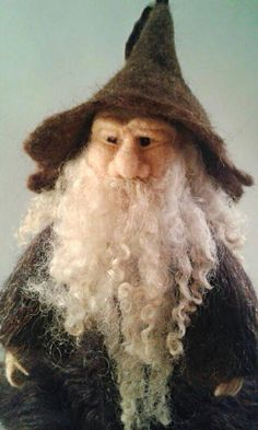 Needle Felted Wizard Figure, Gandalf, Sorcerer, Forest Folk Collection.