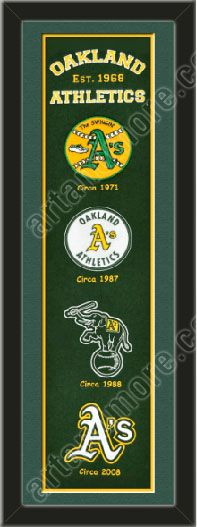 This framed Oakland Athletics heritage banner, double matted in team colors to 8 x 32 inches.  $119.99 @ ArtandMore.com