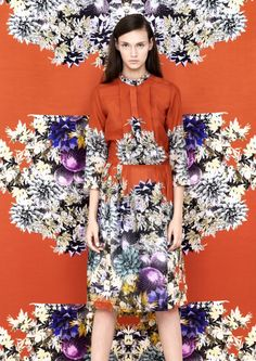 Blames Spring 2013 Collection Embraces Vivid Prints. The print behind is the fabric for the semi circular skirt