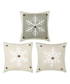 Look what I found on #zulily! Country Christmas Snowflake Throw Pillow - Set of Three #zulilyfinds