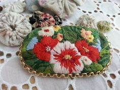 Handmade brooch flower garden in the by Sujstory on Etsy