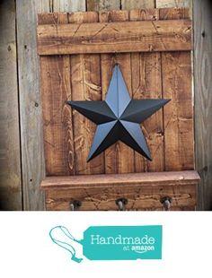 Handmade Black Star Wall Shelf with Hooks on Honey Brown Wood from Apple Farm Creations https://www.amazon.com/dp/B01G123ZV6/ref=hnd_sw_r_pi_dp_osvCyb0ZNNH3D #handmadeatamazon