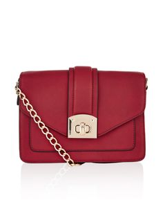 Meet our hottest new style crush, the Dena large across-body bag. This leather-look style has an envelope front with a gold-tone metal twist-lock clasp, plus. Accessorize Handbags, Red Shoulder Bags, Across Body Bag, Red Handbag, Red Cross, Cross Body Handbags, Look Fashion, Women's Accessories, Chain