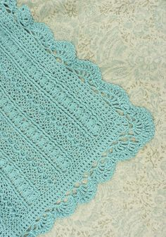 Mayflower baby blanket - lacy edging  . . . .   ღTrish W ~ http://www.pinterest.com/trishw/  . . . .   #crochet #afghan #throw