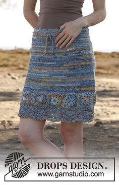 Ravelry: 145-22 Blue Dream - Skirt with squares in Fabel by DROPS design.. Free pattern!