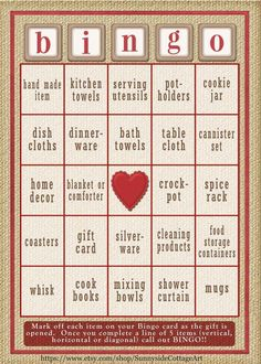 30 card Bridal Shower Bingo game in rustic by SunnysideCottageArt