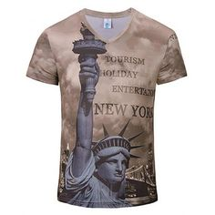 3c3600659 BAPE Shark 24K Gold Shirt. See more. Free shipping 2018 New Fashion Statue  3D Print Man V Collar T-shirt ROSY BROWN