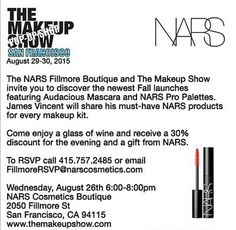 Attention San Francisco beauty lovers! Join our very own James Vincent at NARS Fillmore Boutique · James VincentMakeup KitPopupSpecial ...
