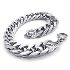 KONOV Jewelry Stainless Steel Wide Link Men's Bracelet - http://www.specialdaysgift.com/konov-jewelry-stainless-steel-wide-link-mens-bracelet/