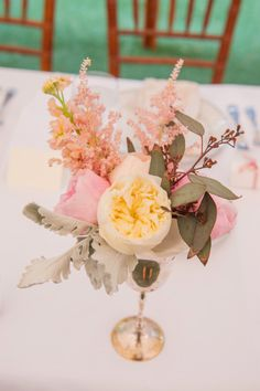 pastel #centerpieces filled with garden roses and astilbe blooms | Photography by lizmaryann.com, Florals by http://www.eleganceandsimplicity.com  Read more - http://www.stylemepretty.com/2013/09/26/keswick-virginia-wedding-from-liz-maryann-photography/