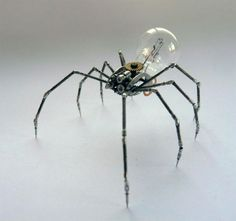 I'm in love with machines. Mechanical Arthropods and Insects Made from Watch Parts and Light Bulbs
