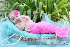 Crochet Mermaid Tail Newborn photo prop Pink by DanasDarlingDesign, $30.00
