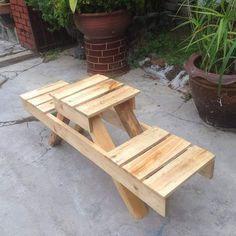 Pallet outdoor bench Pallet Garden Furniture, Outdoor Furniture Plans, Reclaimed Wood Furniture, Bench Furniture, Furniture Removal, Plywood Furniture, Repurposed Furniture, Luxury Furniture, Furniture Makeover