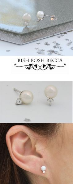 Small but beautiful sterling silver stud earrings with a small diamante crystal below a white pink or brown freshwater pearl. Pearl Stud Earrings, Pearl Studs, Chain Earrings, Sterling Silver Earrings Studs, Statement Earrings, Jewelry Gifts, Jewellery, Earring Display, Pearl White