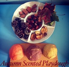Autumn themed scented playdough and natural loose parts.