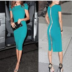 NEW SEXY VICTORIA BECKHAM DRESS club party body con evening sexy dress vestido Black Red Pink Pencil Dress