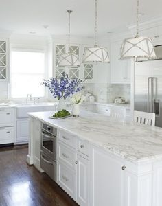 "and... how awesome, here's my fav light in action - in an all white kitchen! (light will hang over my sink... I have brown floors, will do recess lighting but counter top - looks a little ""granny""?"