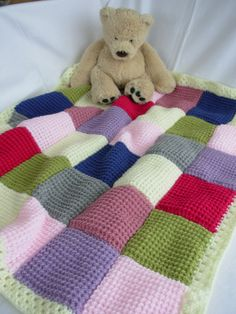 Handmade Knitted Patchwork Baby Blanket - pink, lilac, cream, blue, green, grey | eBay