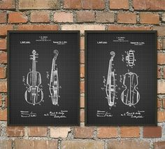 Violin Patent Print Set Of 2 - Violin Poster - Stringed Instrument Art - Musician Gift Idea - Music Room - Orchestra - Music Student Gift