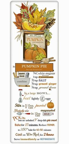 Classic Pumpkin Pie Thanksgiving Recipe 100% Cotton Flour Sack Dish Towel  Tea Towel