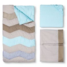 Cocoa Mint 3pc Crib Bedding Set- Gender Neutral. Image 1 of 3.