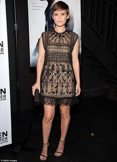 Delicate details: Actress Kate Mara wore an intricate beaded mini-dress with feathers fringe at a screening of her new film Captive at the Sheen Center for Thought and Culture in New York on Monday