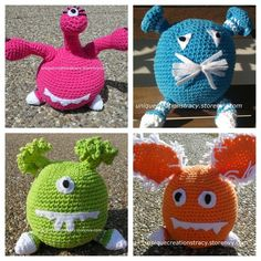 Get this cute set of cotton crochet monsters for a reduced price through the end of the year.  Make great gifts for kids. Monsters are made with cotton yarn and lined with fabric inside so they can not pull the stuffing out of the monster. Color choices can be found here http://www.herrschners.c...
