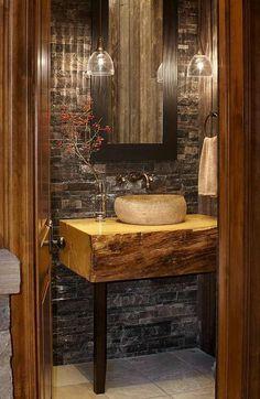 petite salle de bain de déco rustique